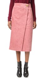 Tibi Corduroy Wrap Skirt Terracotta
