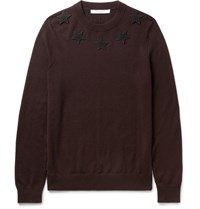 Givenchy Slim Fit Star Appliqued Wool Sweater Burgundy
