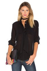 Frame Denim Le Chiffon Tie Blouse Black