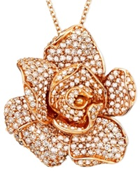 Effy Collection Pave Rose By Effy Diamond Flower 1 3 Ct. T.W. In 14K Rose Gold