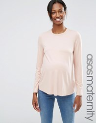 Asos Maternity Crew Neck Top With Long Sleeves Nude Pink