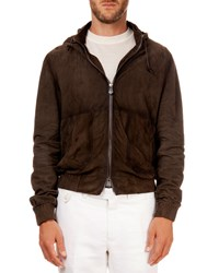 Berluti Hooded Suede Bomber Jacket Brown