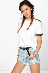 Boohoo Bright Embroidered Trim Shoulder Tee White