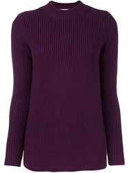 Carven Cable Knit Jumper Pink And Purple