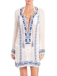 Pia Pauro Lace Up Embroidered Tunic White