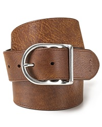 Polo Ralph Lauren Distressed Leather Belt With Dull Nickle Centerbar Buckle Brown