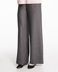 Eskandar Wide Leg Silk Cashmere Trousers Gray Size 1 Grey