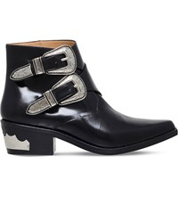 Toga Pulla Double Buckle Leather Ankle Boots Black