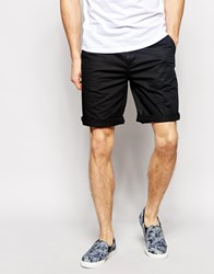 Asos Slim Chino Shorts In Long Length Black Black