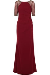 Badgley Mischka Embellished Jersey Gown Red