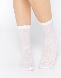 Emilio Cavallini All Over Curls Sheer Ankle Socks White