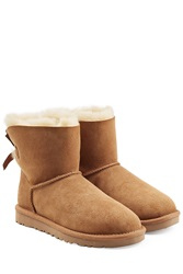Ugg Australia Sheepskin Bailey Mini Knit Bow Boots Brown