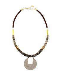 Nakamol Mixed Metal And Leather Beaded Pendant Necklace Multi