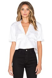 Equipment Short Sleeve Signature Silk Charmeuse Cropped Button Up Ivory
