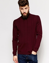 Peter Werth Turtle Neck With Textured Stitch Burgundy