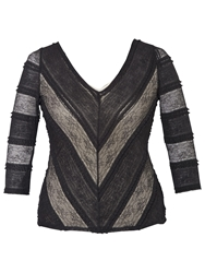 Chesca Lined Striped Lace Top Black