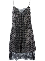 Ermanno Scervino Zebra Striped Metallic Grey Dress