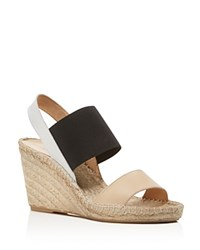 Charles David Odessa Color Block Espadrille Wedge Sandals Natural White