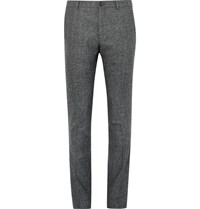 Paul Smith Slim Fit Melange Wool Trousers Gray