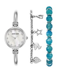 Anne Klein Three Piece Inspiration Natural Stone Swarovski Crystal Studded Watch And Bracelet Set Ak2841bagt Silver
