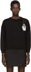 Saint Laurent Black Mohair Embroidered Sweater
