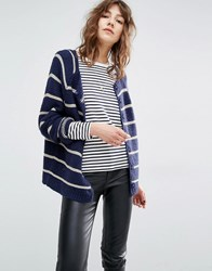 Suncoo Gislaine Stripe Navy And Gold Knitted Cardigan Navy