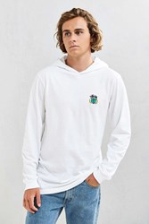 Stussy Embroidered Wreath Hooded Long Sleeve Tee White