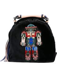 Msgm Beaded Robot Backpack Black