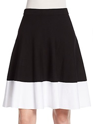Saks Fifth Avenue Black Knit Swing Skirt Black Bleach