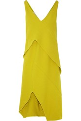 Narciso Rodriguez Asymmetric Stretch Crepe Dress Chartreuse