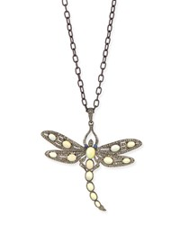Opal And Diamond Dragonfly Long Necklace 35'L Siena Jewelry White