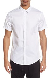 Men's The Rail Longline Trim Fit Short Sleeve Woven Shirt With Contrast Mesh Panel