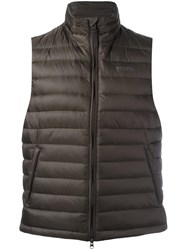 Woolrich High Neck Zipped Gilet Green