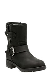 Clarksr Women's Clarks 'Reunite Go' Gore Tex Waterproof Moto Boot Black Leather