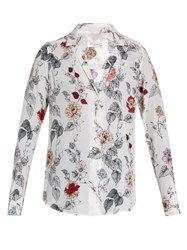 Equipment Adalyn Floral Print Silk Shirt White Multi