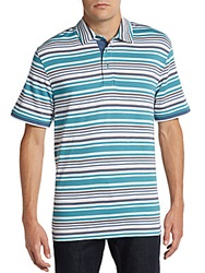 Saks Fifth Avenue Black Multistriped Ice Cotton Polo Shirt