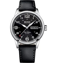 Hugo Boss 1513330 Pilot Stainless Steel And Leather Watch