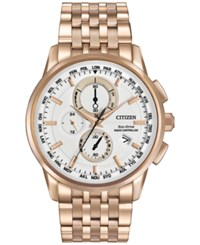 Citizen Men's Chronograph Eco Drive Rose Gold Tone Stainless Steel Bracelet Watch At8113 55A