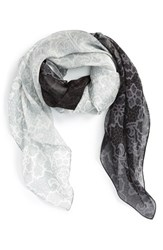 Women's Nordstrom 'Lace Haze' Silk Chiffon Square Scarf Grey Grey Combo