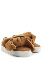 Joshua Sanders Felted Wool Platform Slip On Sneakers With Bows Camel