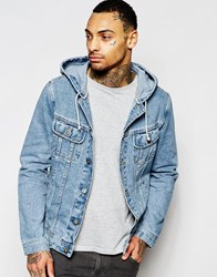 Asos Denim Jacket With Hood In Mid Wash Blue