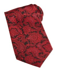 Stefano Ricci Paisley Print Woven Silk Tie Red Red 8