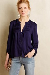 Maeve Pintuck Peasant Blouse Dark Blue