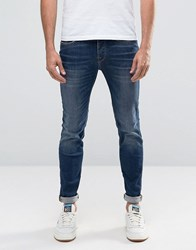 Selected Homme Fabios Skinny Fit Jeans In Mid Wash Medium Blue Denim