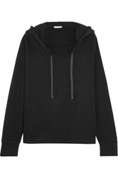 James Perse Oversized Brushed Cotton Blend Hooded Top Black