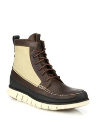 Cole Haan Zerogrand Leather And Canvas Lace Up Boots Brown Beige