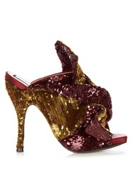 N 21 Bow Front Sequin Mules Burgundy Multi