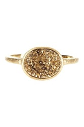 Rivka Friedman 18K Gold Clad East West Gold Druzy Oval Ring Metallic