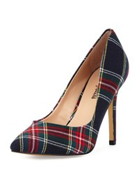 Neiman Marcus Prestige Plaid Pointed Toe Pump Navy Plaid