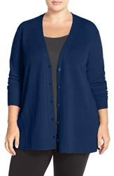 Plus Size Women's Sejour Wool And Cashmere Trapeze Cardigan Blue Mazarine